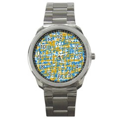 Blue and yellow elegant pattern Sport Metal Watch