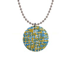Blue and yellow elegant pattern Button Necklaces