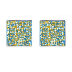 Blue and yellow elegant pattern Cufflinks (Square)