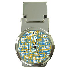 Blue and yellow elegant pattern Money Clip Watches