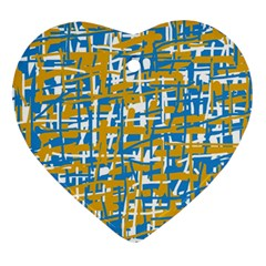 Blue and yellow elegant pattern Heart Ornament (2 Sides)