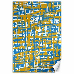 Blue and yellow elegant pattern Canvas 12  x 18