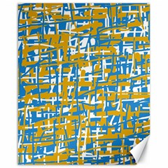Blue and yellow elegant pattern Canvas 16  x 20