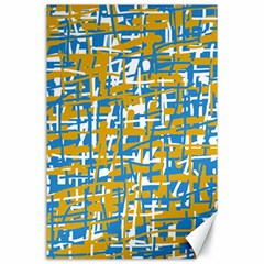 Blue and yellow elegant pattern Canvas 24  x 36
