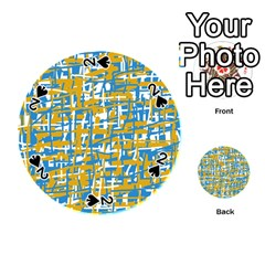 Blue and yellow elegant pattern Playing Cards 54 (Round)