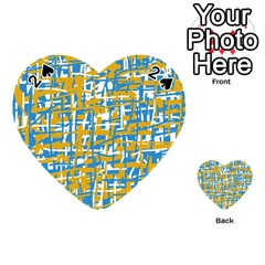 Blue and yellow elegant pattern Playing Cards 54 (Heart)