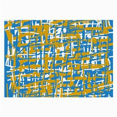 Blue and yellow elegant pattern Large Glasses Cloth