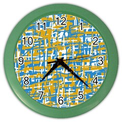 Blue and yellow elegant pattern Color Wall Clocks
