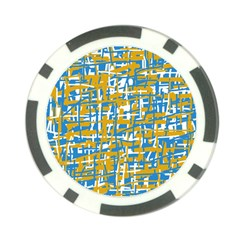 Blue and yellow elegant pattern Poker Chip Card Guards