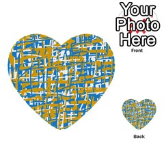 Blue And Yellow Elegant Pattern Multi Purpose Cards (heart)