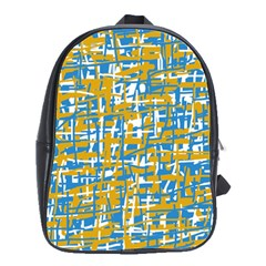 Blue and yellow elegant pattern School Bags(Large)