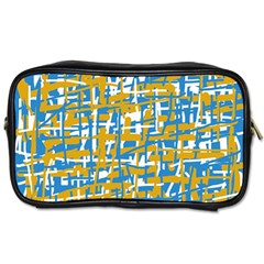 Blue and yellow elegant pattern Toiletries Bags 2-Side