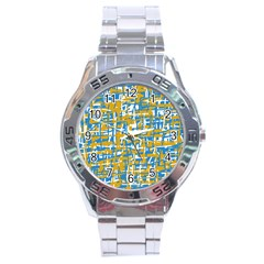 Blue and yellow elegant pattern Stainless Steel Analogue Watch