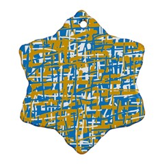 Blue and yellow elegant pattern Snowflake Ornament (2-Side)