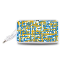 Blue and yellow elegant pattern Portable Speaker (White)