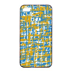 Blue and yellow elegant pattern Apple iPhone 4/4s Seamless Case (Black)