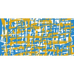 Blue and yellow elegant pattern YOU ARE INVITED 3D Greeting Card (8x4)