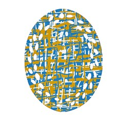 Blue and yellow elegant pattern Oval Filigree Ornament (2-Side)