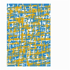 Blue and yellow elegant pattern Small Garden Flag (Two Sides)