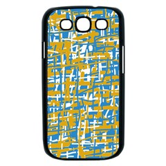 Blue and yellow elegant pattern Samsung Galaxy S III Case (Black)