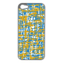 Blue and yellow elegant pattern Apple iPhone 5 Case (Silver)