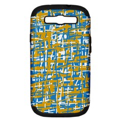 Blue and yellow elegant pattern Samsung Galaxy S III Hardshell Case (PC+Silicone)