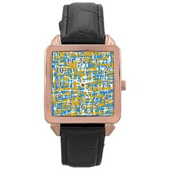 Blue and yellow elegant pattern Rose Gold Leather Watch