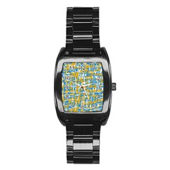 Blue and yellow elegant pattern Stainless Steel Barrel Watch