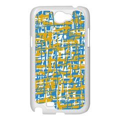 Blue and yellow elegant pattern Samsung Galaxy Note 2 Case (White)