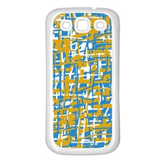 Blue and yellow elegant pattern Samsung Galaxy S3 Back Case (White)