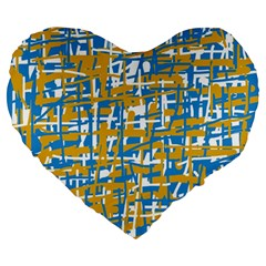 Blue and yellow elegant pattern Large 19  Premium Flano Heart Shape Cushions
