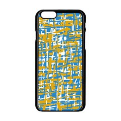 Blue and yellow elegant pattern Apple iPhone 6/6S Black Enamel Case