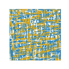 Blue and yellow elegant pattern Small Satin Scarf (Square)
