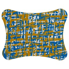 Blue And Yellow Elegant Pattern Jigsaw Puzzle Photo Stand (bow)