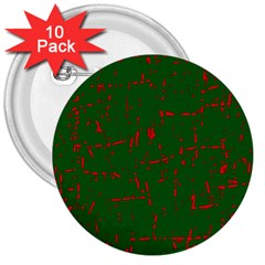 Green and red pattern 3  Buttons (10 pack)