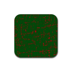 Green and red pattern Rubber Coaster (Square)