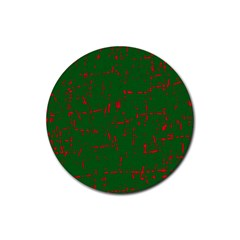 Green and red pattern Rubber Coaster (Round)