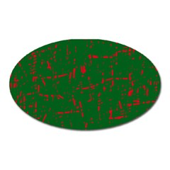 Green and red pattern Oval Magnet