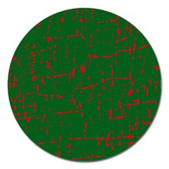 Green and red pattern Magnet 5  (Round)