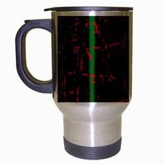 Green and red pattern Travel Mug (Silver Gray)
