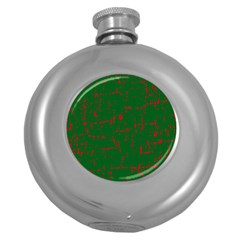 Green and red pattern Round Hip Flask (5 oz)