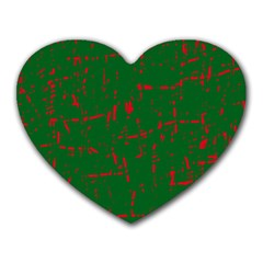 Green And Red Pattern Heart Mousepads