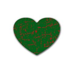 Green and red pattern Heart Coaster (4 pack)