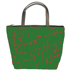 Green and red pattern Bucket Bags