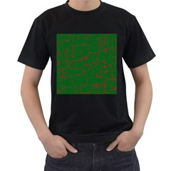 Green and red pattern Men s T-Shirt (Black)
