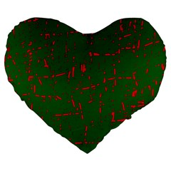 Green and red pattern Large 19  Premium Heart Shape Cushions