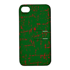 Green and red pattern Apple iPhone 4/4S Hardshell Case with Stand