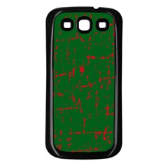 Green and red pattern Samsung Galaxy S3 Back Case (Black)