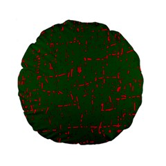 Green and red pattern Standard 15  Premium Flano Round Cushions