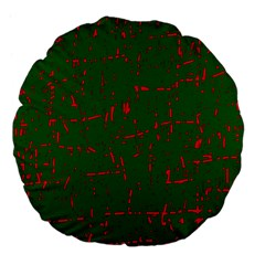 Green and red pattern Large 18  Premium Flano Round Cushions